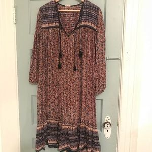 Dresses & Skirts - Vintage 70s Indian Gauze Floral Bohemian Dress M